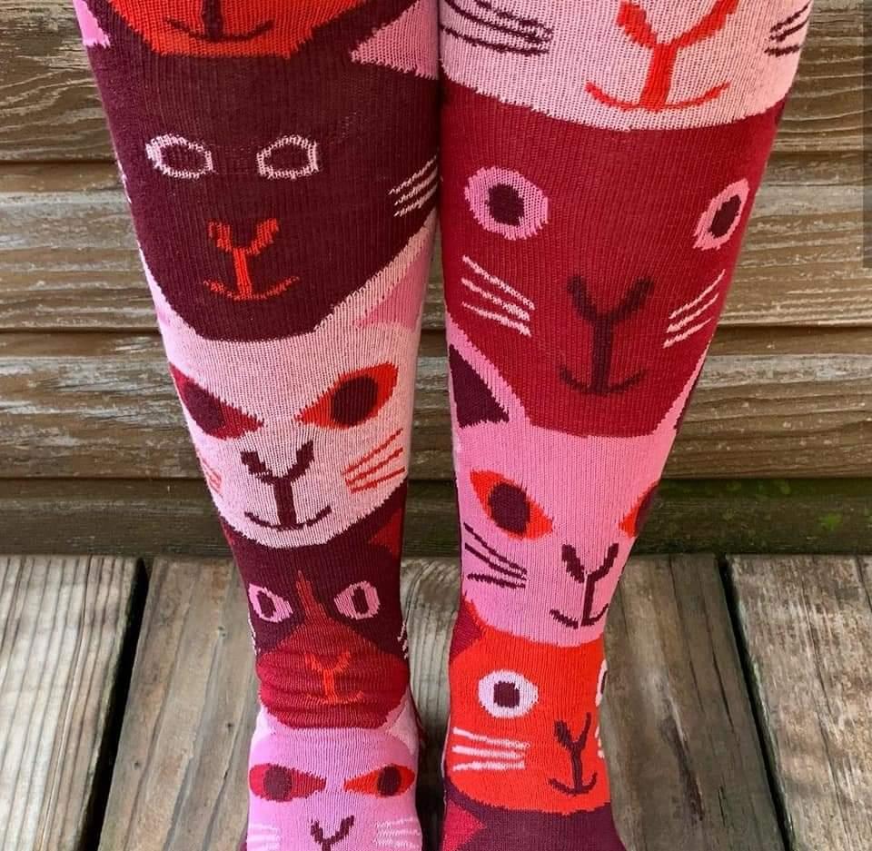 calcetines gatos marta altés granate y rosa