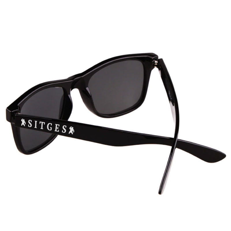 sitges black sunglasses printed with sitges film festival white logotype