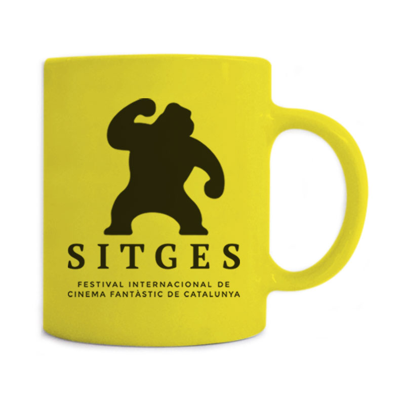 Sitges Yellow Mug printed with the Sitges Film Festival logotype in black colour