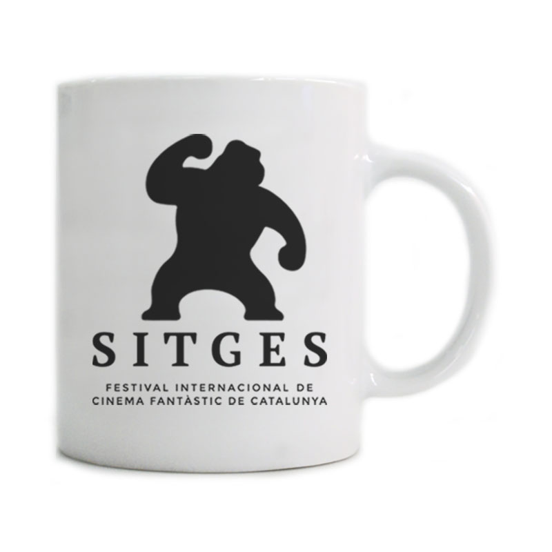 Sitges White Mug printed with the Sitges Film Festival logotype in black colour