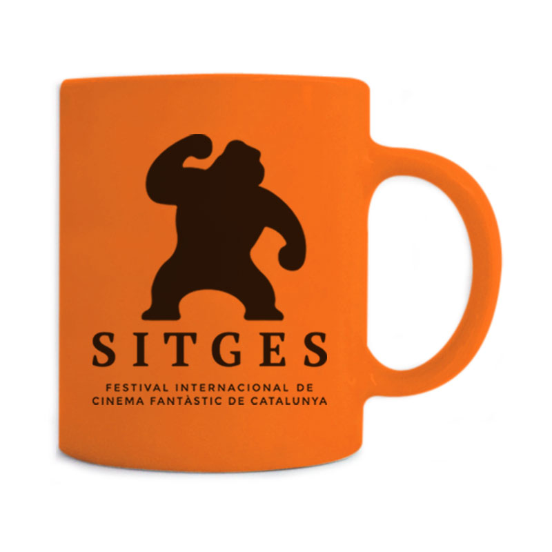 Sitges Orange Mug printed with the Sitges Film Festival logotype in black colour
