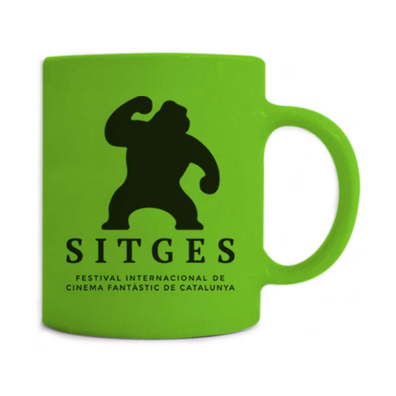 Sitges Green Mug printed with the Sitges Film Festival logotype in black colour