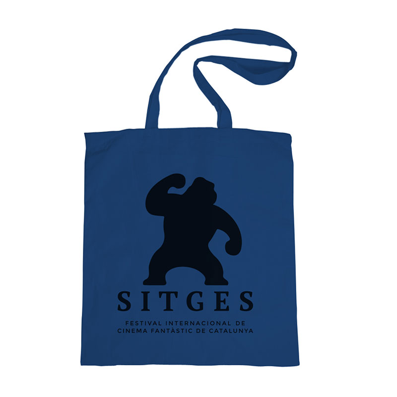 sitges blue tote bag made of cotton in blue colour and printed with the sitges film festival logotype in black colour