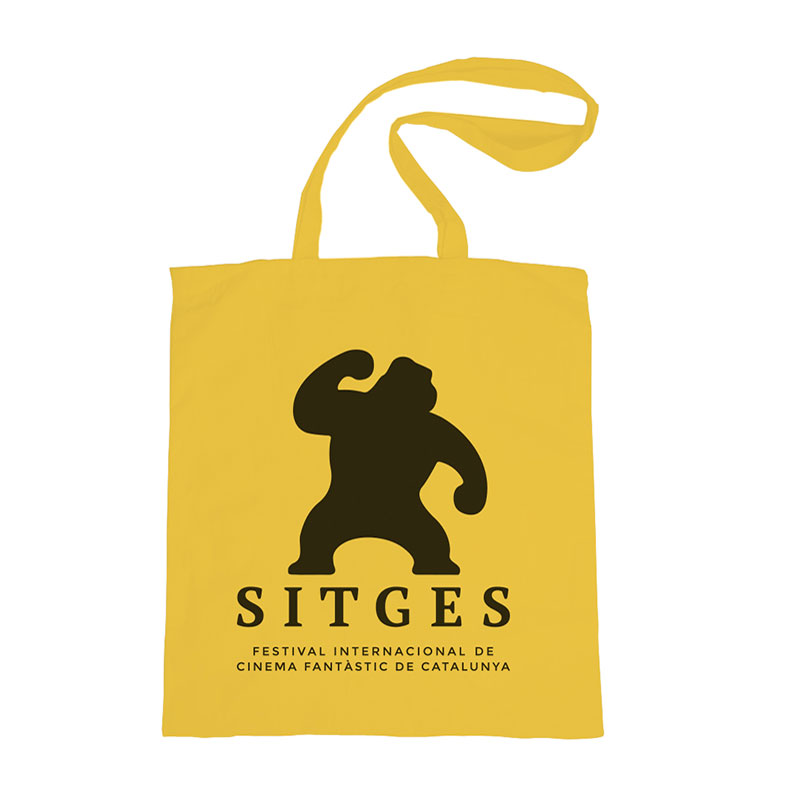 sitges yellow tote bag made of cotton in yellow colour and printed with the sitges film festival logotype in black colour