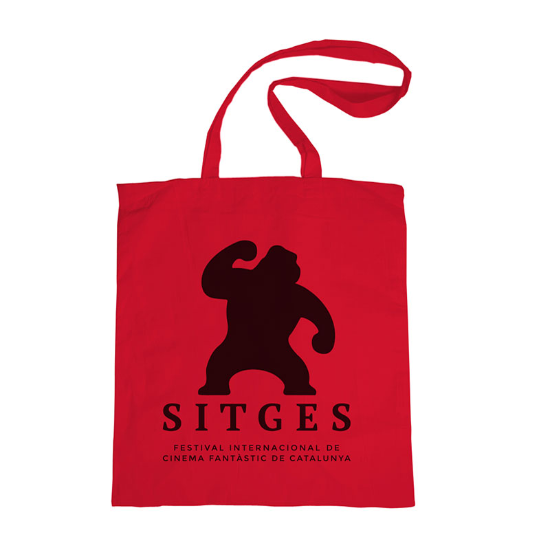 Sitges Red Tote Bag made of cotton in red colour and printed with the sitges film festival logotype in black colour