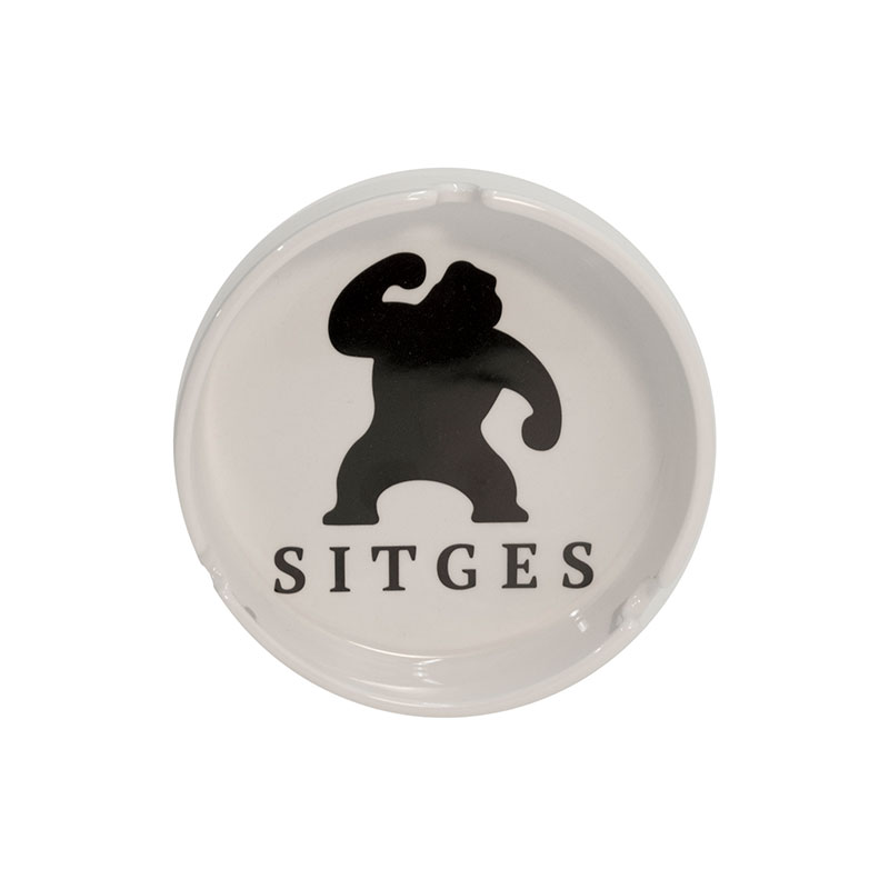 sitges film festival ashtray in white colour and printed with black logotype