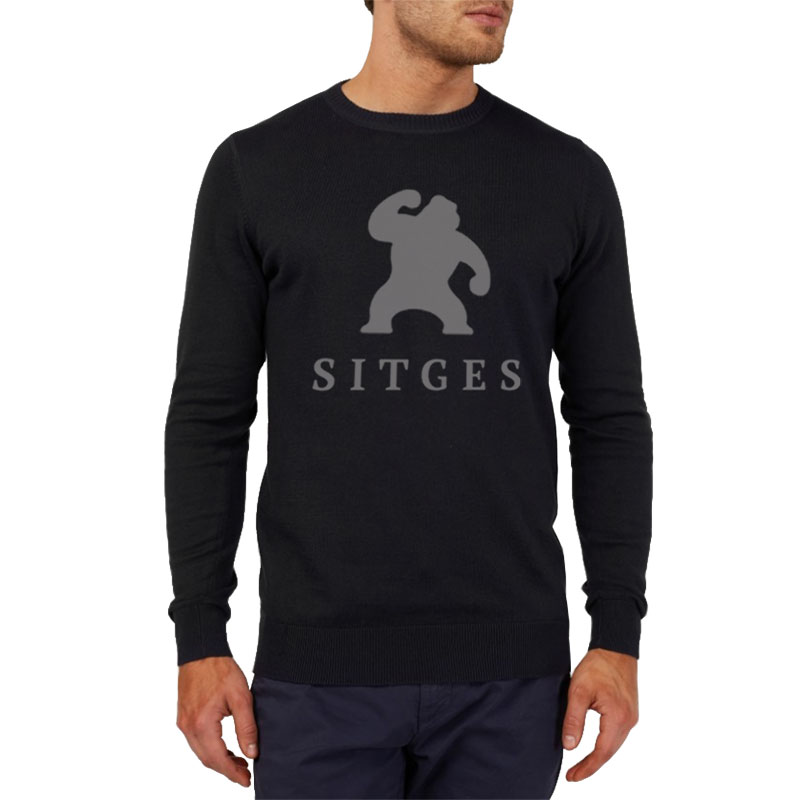 sitges black cotton sweater with gorilla logotype