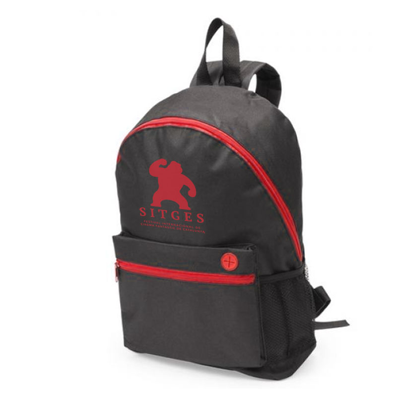 Sitges black and red backpack printed with red sitges film festival logotype