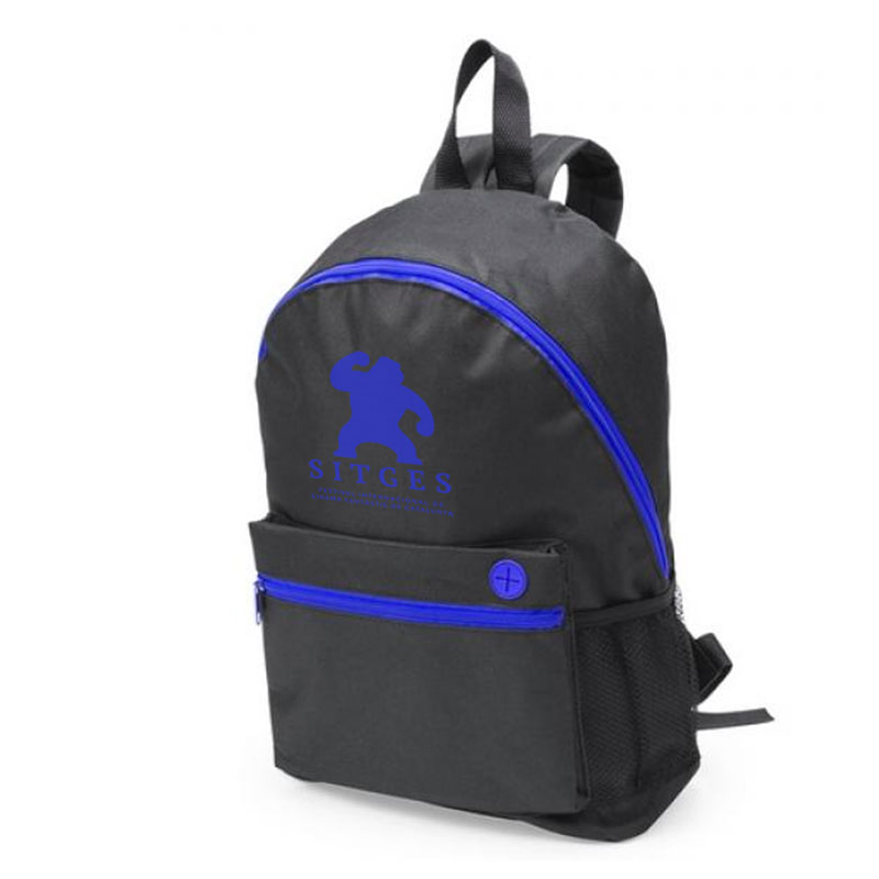 Sitges black and blue backpack printed with blue sitges film festival logotype