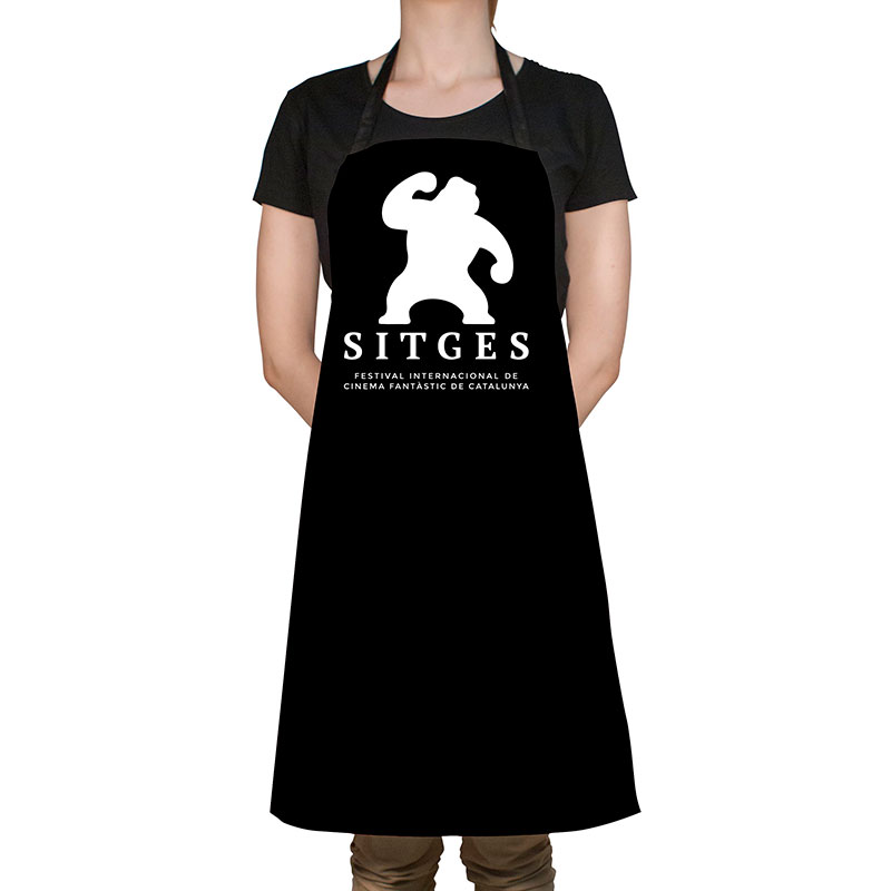 black sitges vinyl apron printed with white sitges film festival logotype