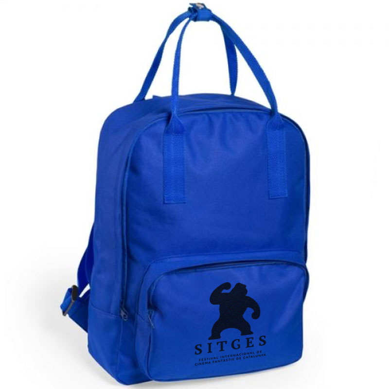 Sitges blue backpack screen-printed with black sitges film festival logotype