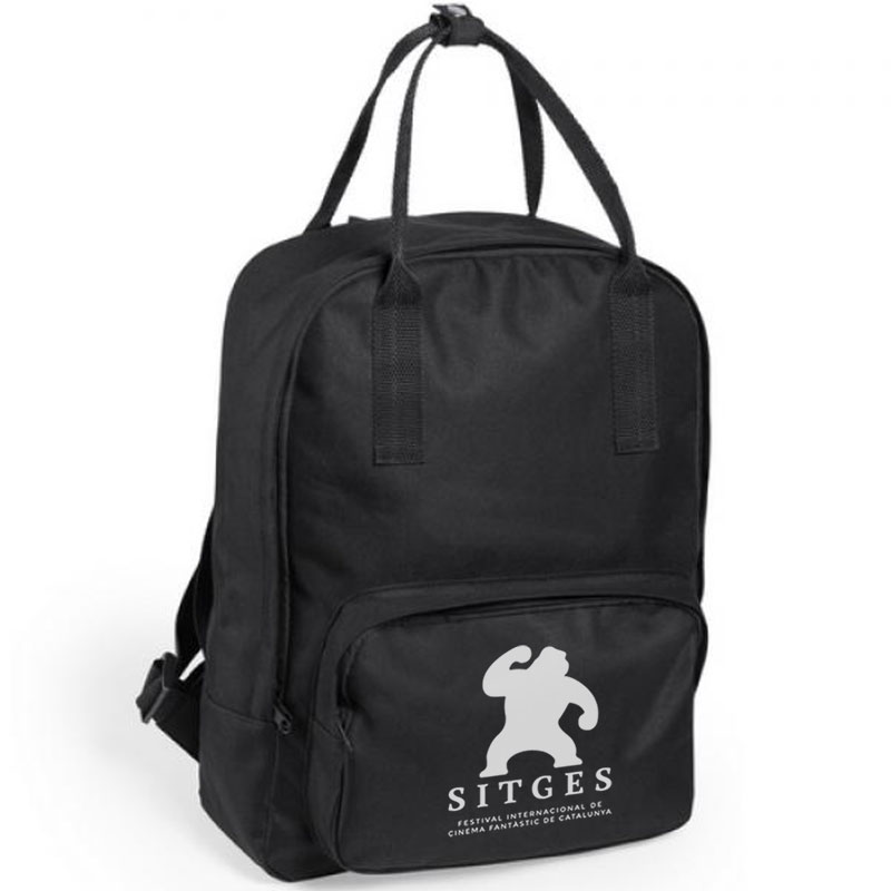 Sitges black backpack printed with white sitges film festival logotype