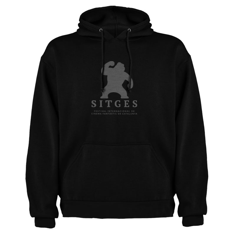 Sitges Black Hoodie screen-printed with the Sitges Film Festival logotype
