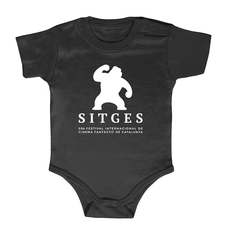 Sitges Black Baby Jumper printed with white sitges film festival logotype