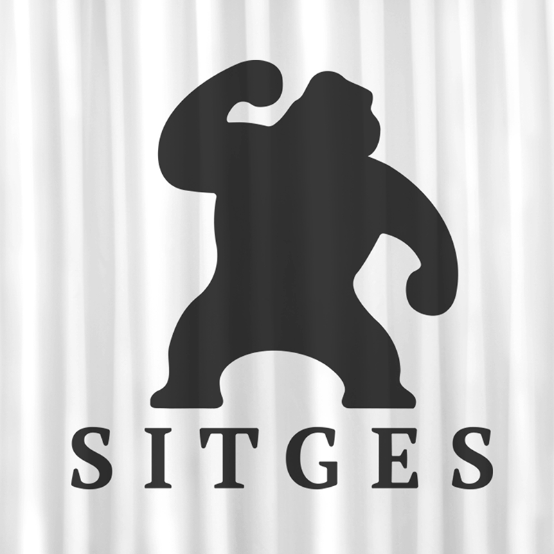 Sitges shower curtain printed with sitges film festival logotype