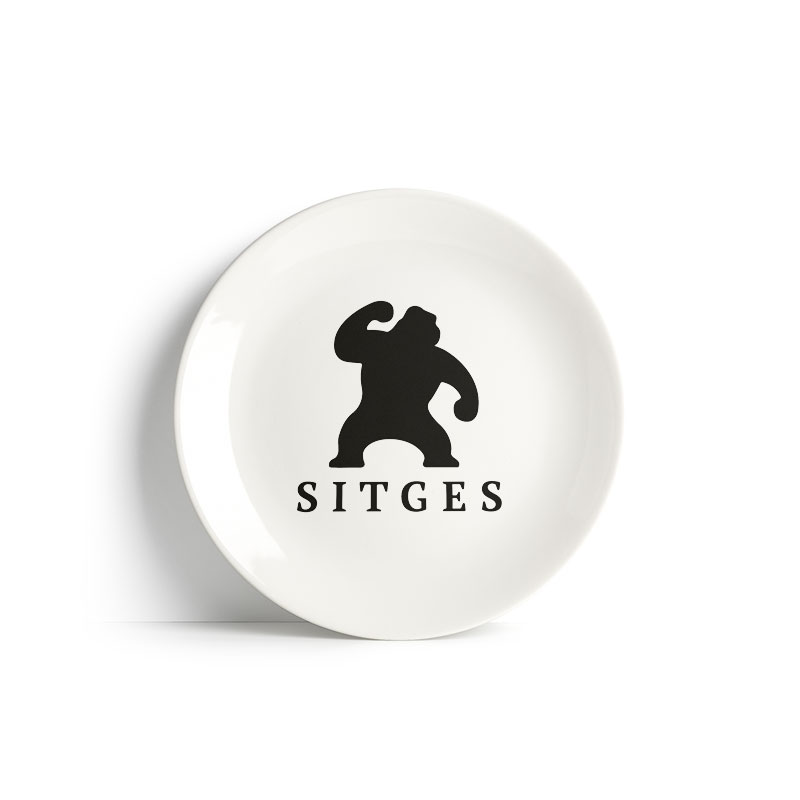 Sitges ceramic plate 20 cm white ceramic printed with sitges film festival black logotype
