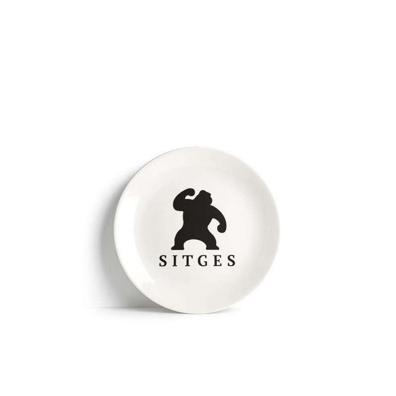 Sitges ceramic plate 12 cm white ceramic printed with sitges film festival black logotype