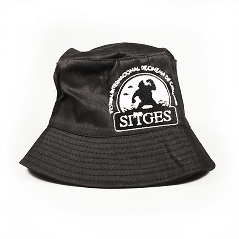 sitges black bucket hat printed with sitges film festival white logotype