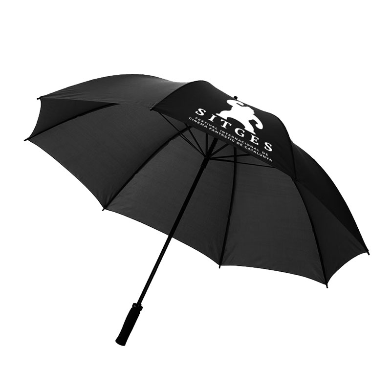 Sitges black umbrella printed with white sitges film festival logotype