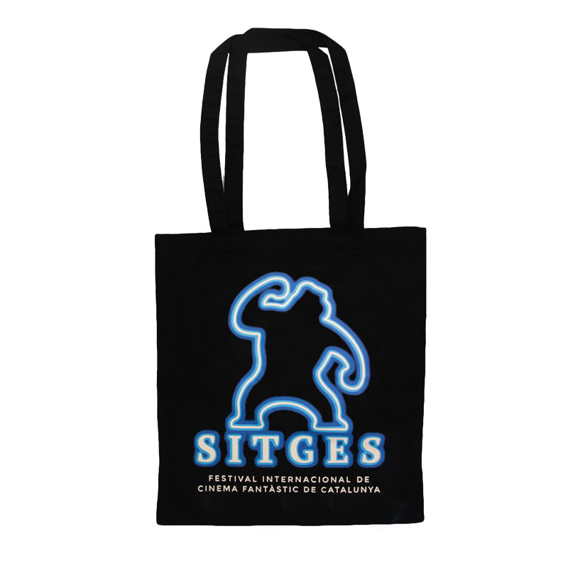Sitges Neon Tote Bag screen-printed with sitges logotype with neon effect