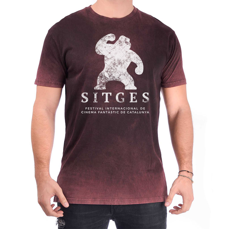 Vintage Deep Red Sitges T-shirt with Worn-Out Logotype of the Sitges Film Festival