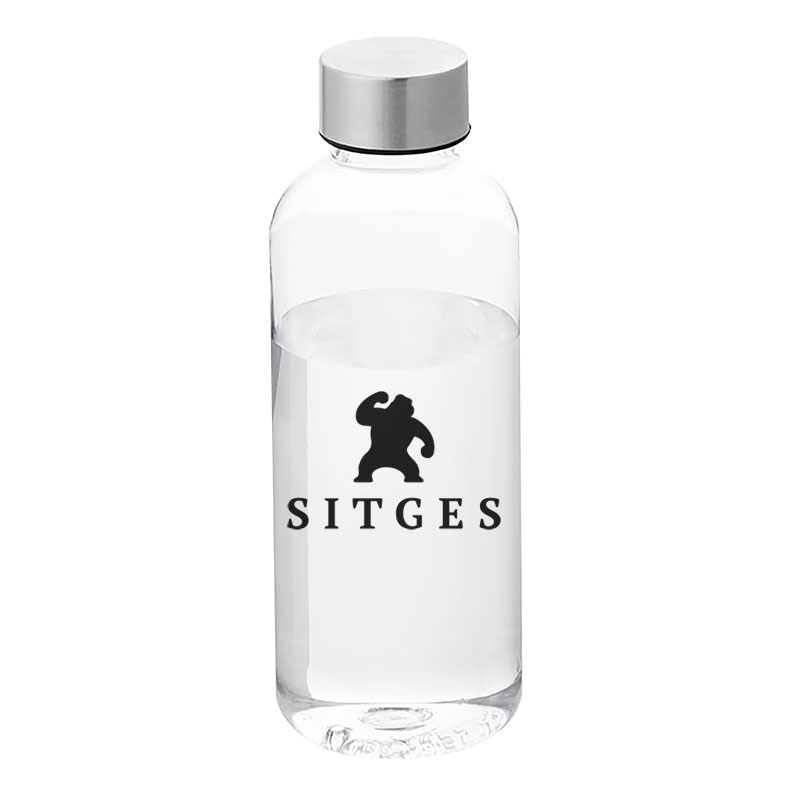 sitges water bottle printed with the Sitges Film Festival logotyoe