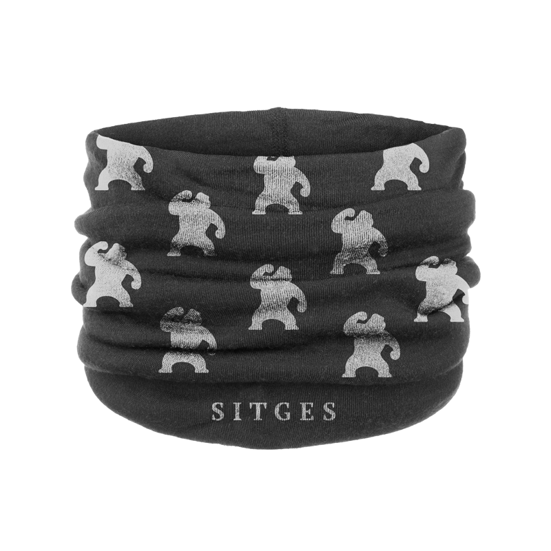 Sitges Black Neck Warmer. Printed with the gorillas of the Sitges Film Festival