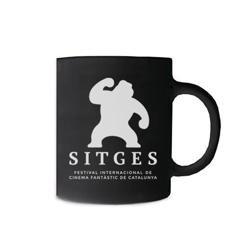 Sitges Black Mug printed with the Sitges Film Festival logotype in white colour