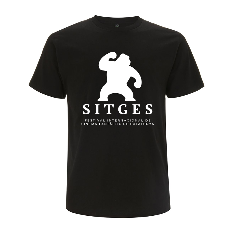 Organic Cotton T-shirt. Black colour, screenprinted with Sitges Film Festival in white colour