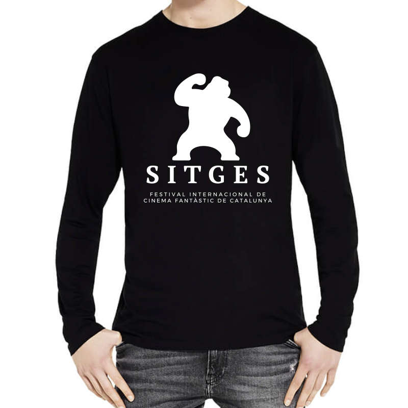 Sitges Long Sleeve T-Shirt screenprinted with the Sitges Film Festival logotype in white colour