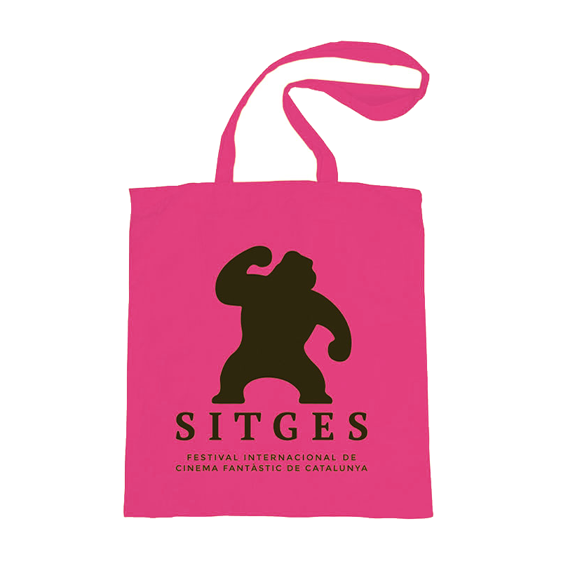 pink tote bag printed with sitges film festival logotype