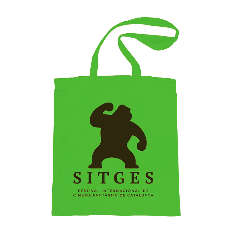 green tote bag printed with sitges film festival logotype