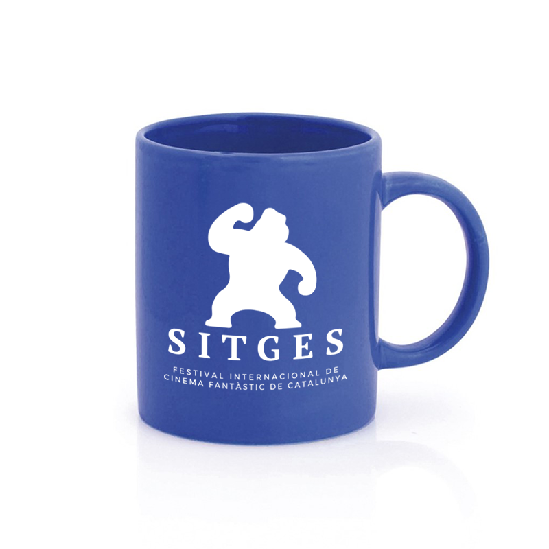 Sitges Blue Mug printed with the Sitges Film Festival logotype in white colour