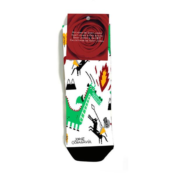 mitjons de Sant Jordi de color blanc de Jorge Ochagavía